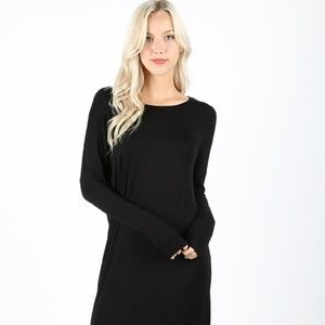 DRESS MID DROP SHOULDER DRESS BLACK CHARCOAL